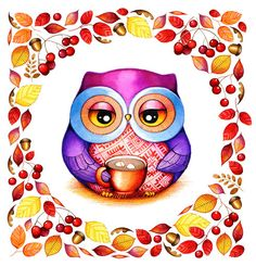 Autumn Wreath - Owl with Cocoa and Marshmallows - Fall Home Decor Watercolor by Annya Kai - Red Berry Acorn Oak Leaves. $19.95, via Etsy.