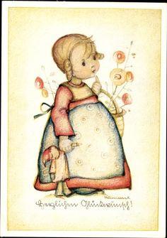 Artist Postcard Hummel, Herzlichen Glückwunsch, Mädchen mit Blumenkorb, Puppe