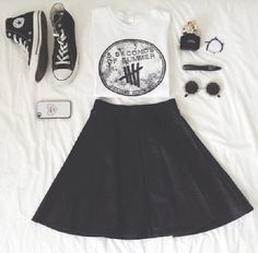 Everyday fashion for teens. Including a beautiful flare skirt, converse, and…