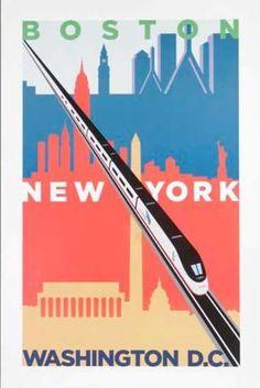 Boston + New York + Washington   Amtrak Acela Original Travel Poster