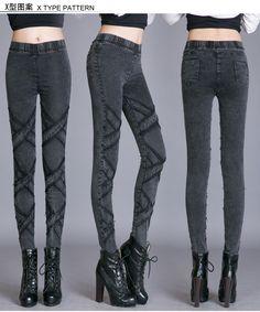Stylish Dark Grey Cross Slim Denim Pants - Leggings | RebelsMarket