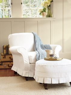 Slipcovers for Chairs, Ottomans and More  Ranging from traditional designs to more customized choices, these slipcovers will stylishly protect more than just sofas.