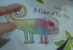 Cute wax paper chameleon activity to go with Leo Lionni book A Color of His Own.
