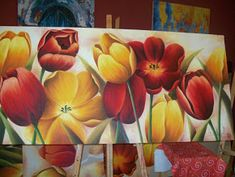 Tulip Painting, Easy Canvas Painting, Flower Crafts, Flower Art, Large Scale Art, Draw On Photos, Arte Floral, Beautiful Paintings, Art Techniques