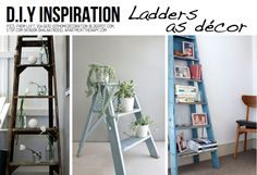 Creative uses for old ladders! Diy Ladder, Ladder Decor, Garden Ladder, Ladder Display, Ladder Shelves, Old Wooden Ladders, Tile Accent Wall, Accent Walls In Living Room, Living Rooms