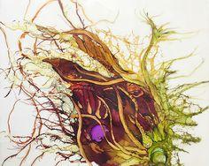 Encaustic floral painting: Fortune Flower by encaustic artist Alicia Tormey