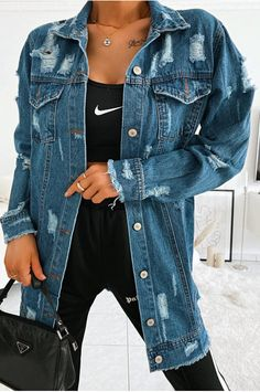 Longue veste en jeans destroy Jean Destroy, Jean Délavé, Denim Bomber Jacket, Jeans Bleu, Destroyed Jeans, Indigo Blue, Bts Taehyung, Africa, Cute Outfits