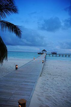 Twilight jetty, Mirihi, Maldives
