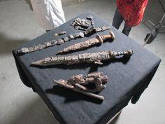 Equipment of the Herculaneum soldier, died in the eruption of Vesuvius in 79 CE. Belt fittings, pugio, gladius of Pompeii type etc.