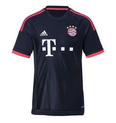 The FC Bayern Munich 15-16 Third Kit is dark navy with pinkish red applications, made for UEFA Champions League matches. While the Adidas logo and the Telekom logo on the front are white, the new FC Bayern Munich Third Jersey has pinkish red sleeve cuffs.