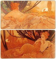 Alphonse Mucha- Dusk and Dawn