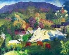 GEORGE WESLEY BELLOWS American, 1882–1925  Village on the Hill - Camden, Maine  Oil on canvas 22½ x 28½ inches (55.9 x 72.4 cm) Framed: 29 x 35 inches (73.7 x 89 cm)
