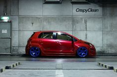 Don't underestimate her because she's small, this customized Yaris is ready to take on anything, and she'll start with Hatchback Cars, Toyota 4, Cars Usa, Sweet Cars, Trd, Jdm Cars, Honda Civic, Custom Cars, Cars And Motorcycles