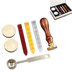 Wax Gift Pro European Retro Wooden Alphabet Letter W Initial Seal Stamp Kit #GiftPro #Custom