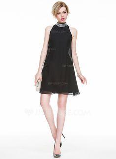 0ebdaefbc1 A-Line Princess High Neck Short Mini Beading Sequins Zipper Up Regular  Straps Sleeveless No 2016 Black Spring Summer Fall General Chiffon Cocktail  Dress