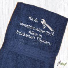 Geschenkidee zur Abschlussprüfung: Duschtuch - Industriemeister | Alles in trockenen Tüchern |