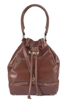 Bolsa saco em couro legítimo pinhão - Enluaze Loja Virtual | Bolsas, mochilas e pastas