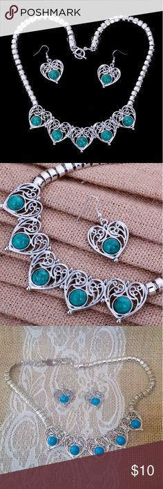 """BOGO Turquoise Silver Heart Necklace Earrings Set 🔮Everything in my closet is temporarily BOGO HALF OFF. See closet sale listing for rules & end date.🔮  Reduced from $18 to $10! FINAL REDUCTION!  This necklace and earring set is brand new.  It's a nice set & not cheap looking, although it's costume jewelry. The stones are a blue turquoise, a little bluer than the 1st 2 pics show, depending on your screen settings. Last 2 pics are the actual set.  The necklace is approximately 19.2"""" long…"""