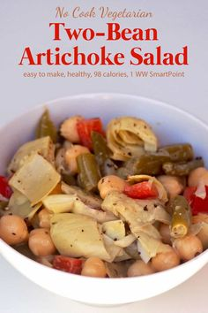 This Bean Artichoke Salad Recipe 1 Weight Watchers Freestyle SmartPoint is a good for your dinner made with awesome ingredients! Bean Salad Recipes, Salad Recipes Video, Healthy Salad Recipes, Ww Recipes, Popular Recipes, Summer Recipes, Healthy Foods, Artichoke Salad, Artichoke Recipes