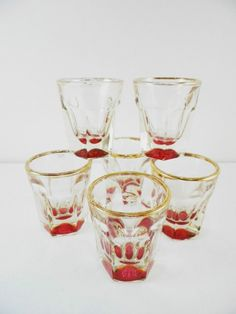 Vintage Ruby Flash Shot EAPG Glass Set Hexagon Gold Rim by GsEclecticAttic on Etsy