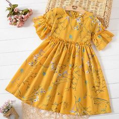 Buy Floral Print Trumpet Sleeve Round Neck Dress online with cheap prices and discover fashion Daily Dress at . Baby Girl Frocks, Frocks For Girls, Dresses Kids Girl, Kids Outfits, Baby Outfits, Cute Baby Dresses, Girls Dresses Sewing, Party Dresses, Baby Girl Dress Patterns
