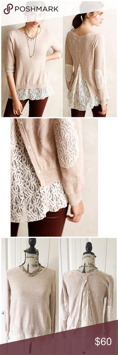 """Anthropologie Lace Parted Pullover This lovely light pink pullover is by Anthro brand angel of the north. It's a light knit sweater with lace detailing on the hem, elbows and the open back{actual color of item may vary slightly from pics}  *shoulders:20"""" *chest:22"""" *waist:23"""" *length:24""""/sleeves:27""""  *55%cotton25%viscose5%cashmere/hand wash  *fit:might work for small too  *condition:no rips/stains/pre-loved condition   20% off bundles of 3/more items No Trades  NO HOLDS No transactions…"""