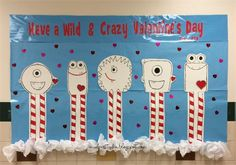 Monster Themed Valentine's Day Bulletin Board Idea; use with monster craft from Wills' blog