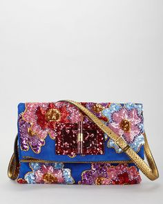 Tom Ford Floral Sequin Embroidered Soft Natalia Clutch Bag