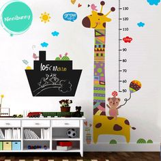 This colorful giraffe growth chart comes with many cute elements and a Chalkboard panel, which is the perfect addition to your kids' nursery or bedroom. You can either register the height of your children as they grow or draw cute things on it:) Giraffe Nursery, Nursery Decals, Animal Nursery, Your Child, Toy Chest, In The Heights, Storage Chest, Chalkboard, Children