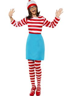 NEW WOMENS WHERES WALLY STRIPE T-SHIRT BOOK WEEK DAY KIT HEN PARTY COSTUME