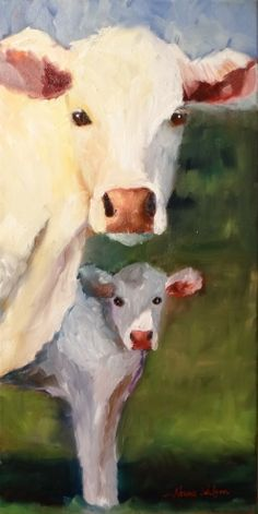 Standing By Mom Cow Painting Animal Art, painting by artist Norma Wilson