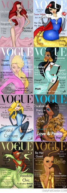 Disney Princesses x Vogue. Cinderella's my fave, of course :))