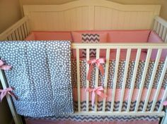 Modern Gray and Pink Crib Bedding by butterbeansboutique on Etsy, $315.00