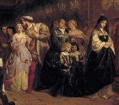 """Detail from the painting """"The Great Matter"""". In this painting depicting Henry's court sometime during 1525-1530, the main players of 'The Great Matter' are portrayed. In this large portrait, Henry VIII is seen intimately wooing Anne Boleyn in court behind his wife, Katherine of Aragon"""