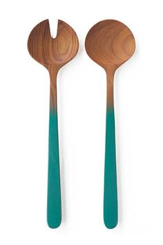 Teak Oval Server Set with Aqua Handles by Be Home. Be Home's teak products are made from the excess material that the logging industry leaves behind. Thus, no new trees are cut down to create their products.