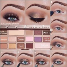 """✨Pictorial✨ using the @toofaced Chocolate Bar palette •Steps:  •1. Prime your lids, I used Mac - Painterly paint pot. Apply Champagne Truffle as your…"""