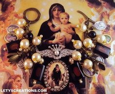 """""""Queen of Angels"""" Catholic Virgin Mary Cameo, Saints Catholic Medals Bracelet www.letyscreations.com"""