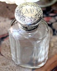 Antique Victorian Sterling Crystal Perfume Bottle Monogram AD-scent, silver, boudoir,vanity,lion, passant, dressing, table, vanity,display,screw,designer, 1800's, England,