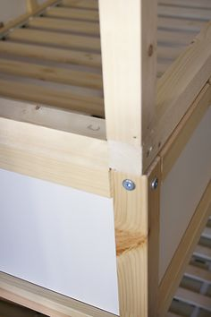 wood house with Ikea bunk beds