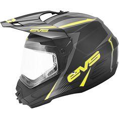 EVS T5 Venture Dual Sport Adult Dirt Bike Motorcycle Helmet – Matte Black/Hi-Viz Yellow