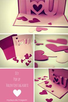 """""""Will you be my Valentine?"""" - Mit unseren Anleitungen kannst Du Deine ganz persönliche Valentinstag Karte basteln und Deinen Schatz auf kreative Art und Weise fragen, ob er Dein Valentinstagsdate sein möchte! Valentinstag Karte - DIY, Popup-Karten,"""