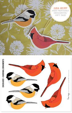 bird ornaments/gift tags lisa rupp on creature comforts
