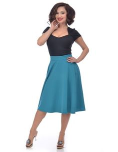 High Waisted Thrills Skirt in Teal Front