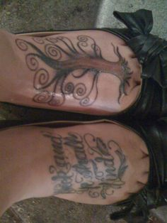 """My feet tattoos. """"Seek and Ye Shall Find"""", and my tree of life."""
