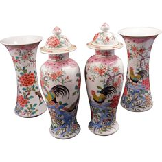 Chinese overglaze enamel Famille Rose porcelain 4 piece garniture set circa 1900 set circa 1900 $950