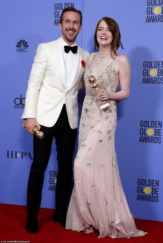 74th GOLDEN GLOBES 2017 Going ga-ga: The A-listers posed up with their shiny new trophies after the gala...