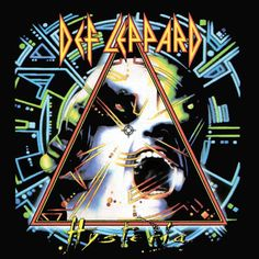 """Def Leppard: Hysteria (1987) by, Andie Airfix of Satori. This iconic sleeve, with it's neon representation of the concept of """"hysteria"""" adorning T-Shirts and posters around the world. The image is one of those rare creatures that is arguably as iconic as the music itself."""