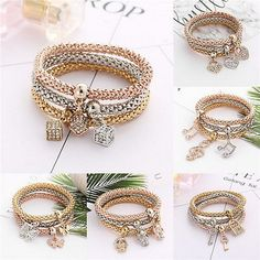 cool  Fashion Women Adjustable Three-color Crystal Beaded Cuff Bangle Charm Bracelet - For Sale