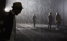 Rain Room at the Curve, Barbican Centre, London. It rains everywhere but wherever you happen to be standing.