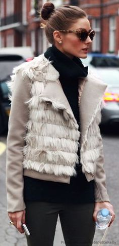 Beautiful detailed fur coat on Olivia Palermo | Just a Pretty Style